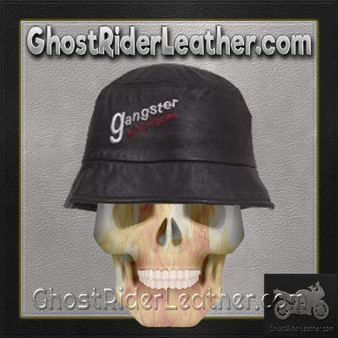 Leather Bucket Cap With Gangster Motorcycles Embroidery / SKU GRL-AC32-DL