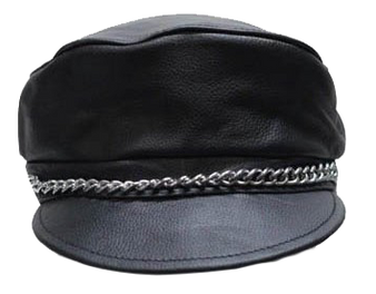 Leather Cap with Chain - SKU AC008-DL