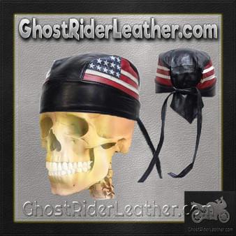 Leather Skull Cap with American Flag / SKU GRL-AC007-04-DL