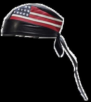 Leather Skull Cap with American Flag -Biker Durag - AC007-04-DL