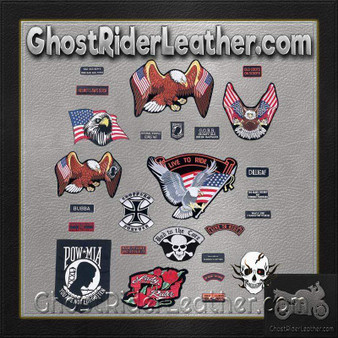 Live To Ride 26 Piece Embroidered Motorcycle Biker Patches Set- SKU GRL-GFPATCH26-BN