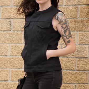 Ludlow - Canvas - Women's Textile Club Style Motorcycle Vest - SKU GRL-FIL516CNVS-FM