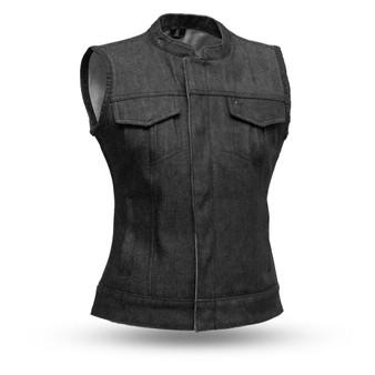 Ludlow - Denim - Women's Denim Motorcycle Vest - FIL516DM