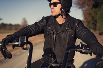 Men's Tall Leather Motorcycle Jacket - Mastermind - Standard Length Also - FIM244BNKDZ-FM