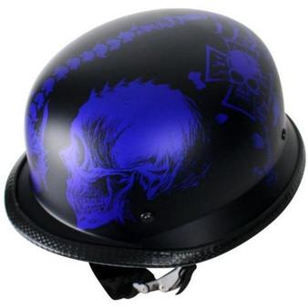 Matte Blue Horned Skeletons German Novelty Motorcycle Helmet - SKU GRL-H502-D5-BLUE-DL