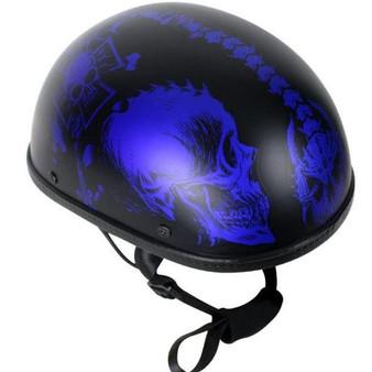 Matte Blue Horned Skeletons Novelty Motorcycle Helmet - SKU GRL-H501-D5-BLUE-DL