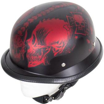 Matte Burgundy Horned Skeletons German Novelty Motorcycle Helmet - SKU GRL-H502-D5-BURG-DL
