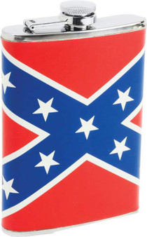 Maxam 8oz Stainless Steel Flask with Rebel Flag Wrap - SKU GRL-KTFLKRBL-BN