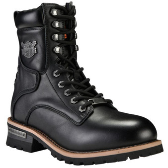 Men's Leather Motorcycle Boots With Zipper and Lace-Up - SKU GRL-MR-BTM8002-DL