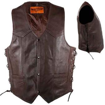 Mens 10 Pocket Brown Leather Vest With Side Laces / SKU GRL-MV310-BRN-11-DL