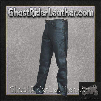 Mens 5 Pocket Leather Pants with Side Laces - SKU GRL-AL2502-AL
