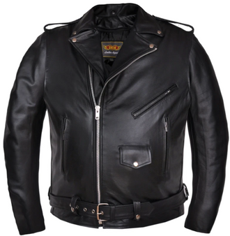 Men's Big Size Leather Motorcycle Jacket with Side Laces - Up To Size 66 - SKU 14.00-UN