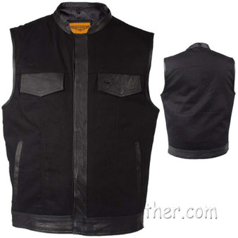 Mens Black Denim Club Vest with Leather Trim - SKU GRL-MV8019-ZIP-BD-DL