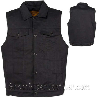 Mens Black Denim Motorcycle Club Vest - SKU GRL-MV8020-BD-DL