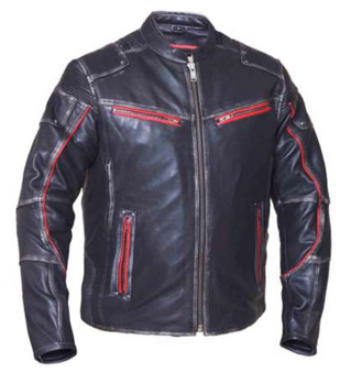 Men's Black With Red Trim Durango Leather Jacket with Concealed Carry Pockets - SKU 6633.01-UN