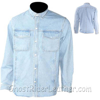 Mens Blue Denim Shirt with Snap Pockets - SKU GRL-MJ777-DENIM-DL