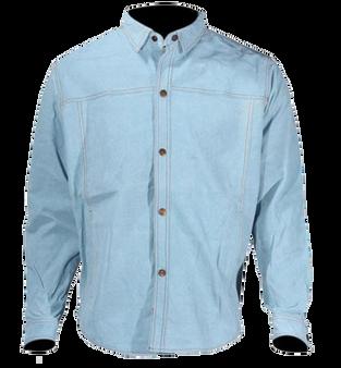 Men's Blue Leather Shirt with Snap Closure - SKU MJ777-15-DL