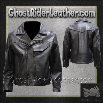 Mens Braided Pistol Pete Naked Leather Motorcycle Jacket - SKU GRL-MJ708-11-DL