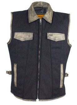 Mens Canvas and Distressed Brown Leather Motorcycle Club Vest - SKU GRL-MV8010-CV12-DL