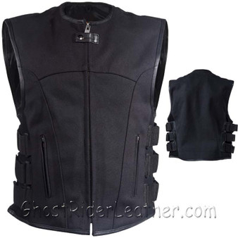 Mens Canvas SWAT Style Motorcycle Vest with Two Gun Pockets - SKU GRL-MV315-CV-DL