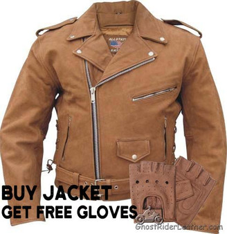 Men's Classic Style Brown Leather Motorcycle Jacket With Free Gloves- Up To Size 60 - SKU AL2015-AL