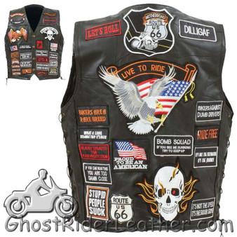 Mens Diamond Plate Patchwork Leather Vest 42 Patches - SKU GRL-GFVBIK42-BN