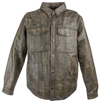 Men's Distressed Brown Leather Shirt with Concealed Carry Pockets - SKU MJ777-12L-DL