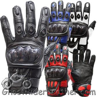 Men's Hard Knuckle Leather Gauntlet Gloves In Red - White - Blue - Black - SKU GLZ36-DL