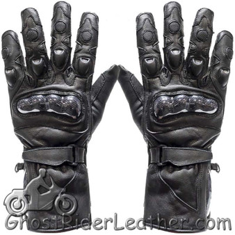 Mens Hard Knuckle Leather Gauntlet Riding Gloves - SKU GRL-GLZ10-DL