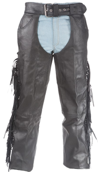 Mens Ladies Unisex Leather Chaps with Braid and Fringe - SKU C337-04-DL
