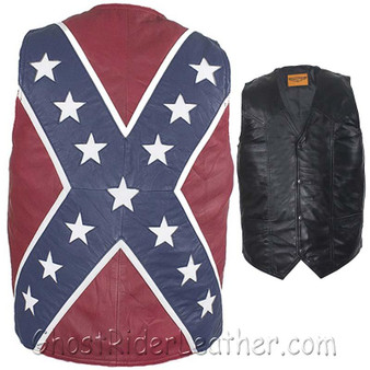 Mens Lambskin Leather Rebel Flag Motorcycle Vest - SKU GRL-MV2700-07-DL