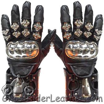 Mens Leather and Metal Gauntlet Racing Gloves - SKU GRL-GLZ8-DL