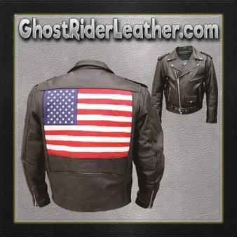 Mens Leather Biker Jacket with American Flag on Back - SKU GRL-AL2018-AL