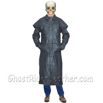 Mens Leather Duster, Tough Rugged Style - SKU GRL-AL2603-AL