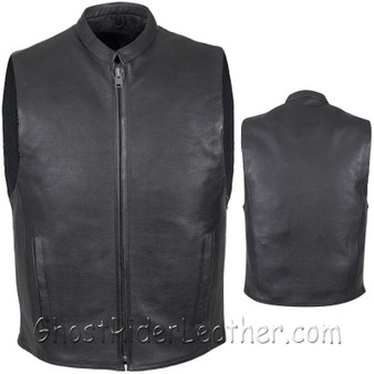 Mens Leather Motorcycle Club Vest with Zipper Front / SKU MV8001-DL