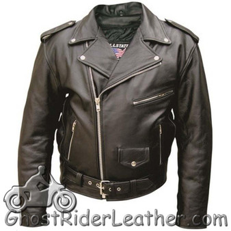 Mens Leather Motorcycle Jacket - Up To Size 66 - SKU AL2001-AL