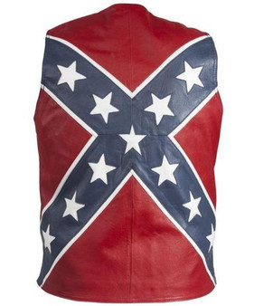 Mens Leather Rebel Flag Motorcycle Vest - SKU GRL-MV2700-DL