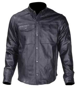 Men's Leather Shirt with Snap Closure - MJ777-SS-DL