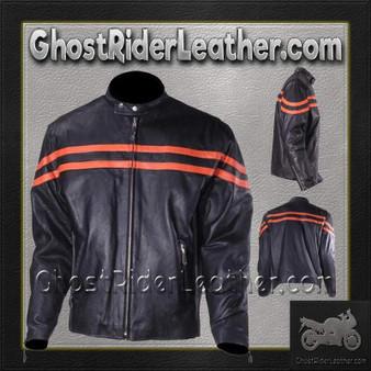 Mens Motorcycle Racer Jacket with Orange Stripe / SKU GRL-MJ779-ORG-DL