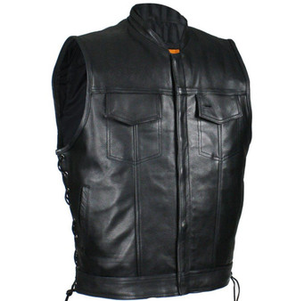 Mens Naked Black Leather Motorcycle Club Vest with Zip Front - SKU CL-MV9320-ZIP-11-DL
