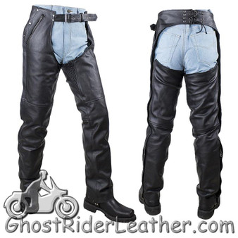 Mens or Ladies Unisex Leather Chaps with Removable Liner - Premium Naked Leather - SKU C4334-11-DL