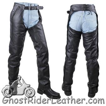 Mens or Ladies Unisex Leather Chaps with Removable Liner - Split Cowhide - SKU GRL-C4334-04-DL