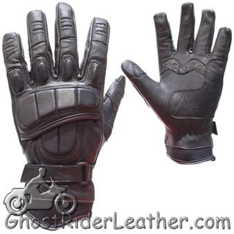 Mens Padded Premium Leather Racing Gloves With Tight Grip Strip - SKU GRL-GLZ37-DL
