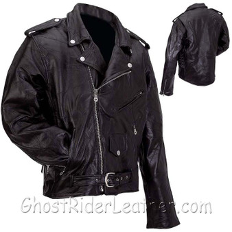 Mens Patchwork Leather Motorcycle Jacket - Big Sizes - SKU GRL-GFMOT3X-7X-BN