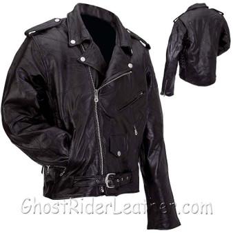 Men's Patchwork Leather Motorcycle Jacket - Big Sizes - SKU GFMOT3X-7X-BN