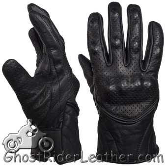 Mens Perforated Short Leather Racing Gloves With Hard Knuckles - SKU GLZ66-DL