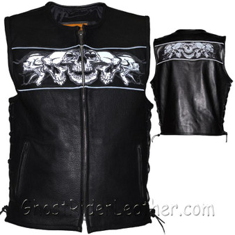 Mens Premium Leather Vest with Night Reflective Skulls and Concealed Carry Pockets / SKU GRL-MV8025-11-DL
