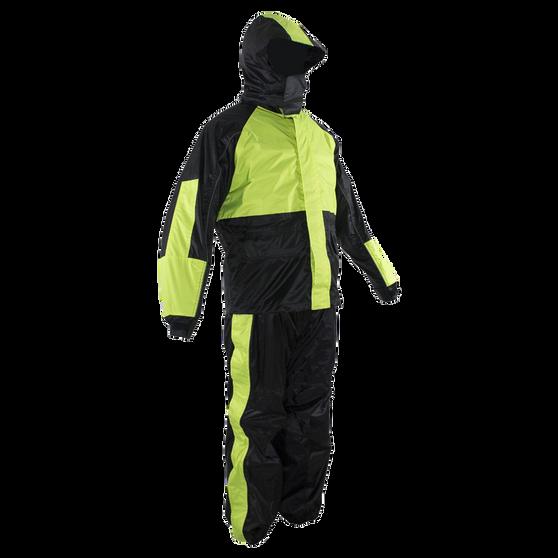Motorcycle Biker Two Piece Fluorescent Rain Suit With Hoodie - SKU GRL-RS26-HOODIE-DL