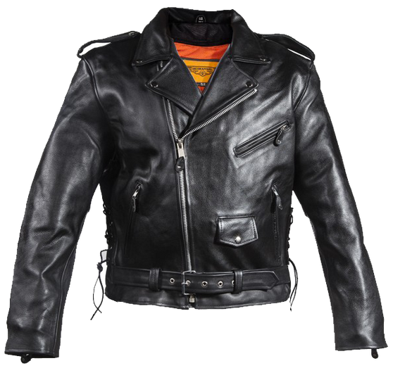 Naked Leather Motorcycle Police Style Jacket with Side Laces and Vents - Up To Size 72 - SKU MJ201-NK-DL