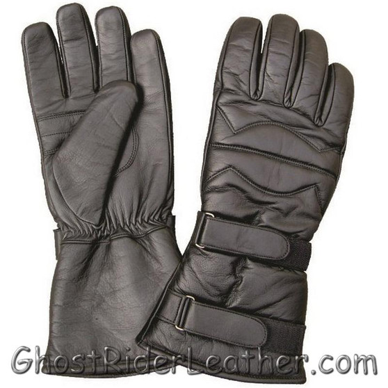 Padded Leather Riding Gloves with Two Velcro Tabs  - Gauntlet Style - SKU GRL-AL3061-AL